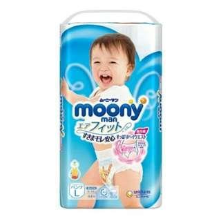 🚚 日本境內moony男用 褲型L 44片