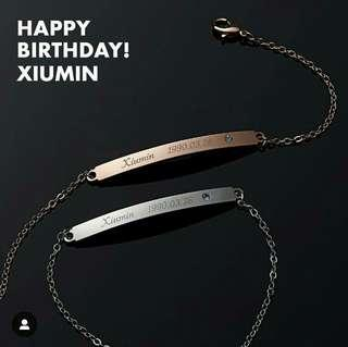 EXO Xiumin Birthday Bracelet - Rose Gold / Silver