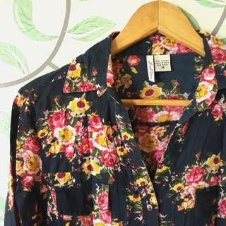 Dark Blue and Pink Floral Button-up Polo