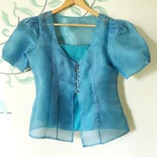 Blue Formal Filipiniana Blouse