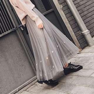 [熱賣] 釘珠網紗拼接蓬蓬裙 4色 F(兩種長度)