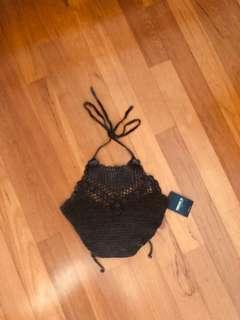 bnwt f21 tie-back knitted halter top in grey/black stone wash ~ forever 21 cotton on h&m bershka pull&bear topshop cutout factorie boho 6ixty8ight