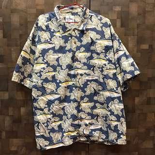 古著海洋花卉魚群襯衫