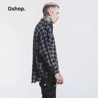 【 Gshop.】美式街頭復古割爛毛邊下擺OVERSIZE寬鬆格子襯衫男長袖襯衣