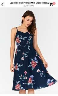 Louella Floral Printed Midi Dress in navy