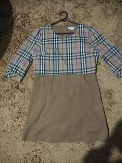 Vasco Big Size Burberry Mini Dress