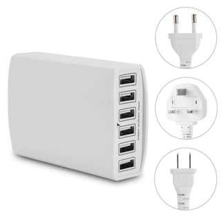 6-Port USB Charger Fast Charging Intelligent Identification Adapter For Phone/Android