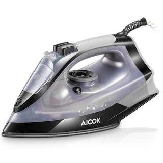 AICOK Iron, Steam Iron, Dry and Steam 2 in 1 Iron with 120g Stem Boost, Anti-Scale Vertical Iron with 5 Modes of Temperature Control, Non-Stick Soleplate, 2200w, Black/White, Cherry, ES2376 [Energy Class A]