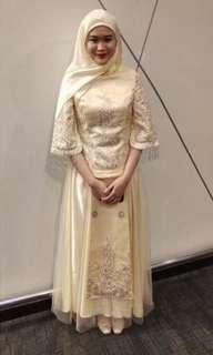 Pale Yellow Gold Dinner Dress Chinese Traditional Wedding Gown