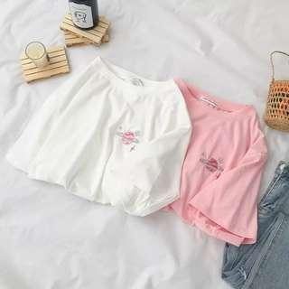 [po] ulzzang embroidery planet tee