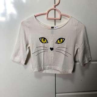 🚚 H&M White Kitty Crop Top