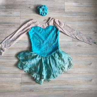 Ice skating competition dress full set溜冰裙