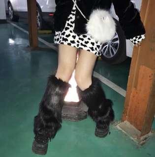 black furry leg warmers