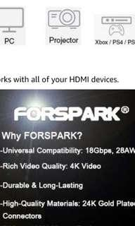 🚚 FORSPARK Professional Grade 4K Ver 2.0 HDMI Cable (SEALED PACKAGE)