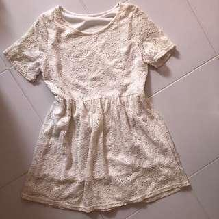 🚚 White Lace Baby Doll dress