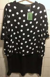 [服飾]全新 正版 FRAPBOIS oversized 黑白圓點假兩件 連身裙