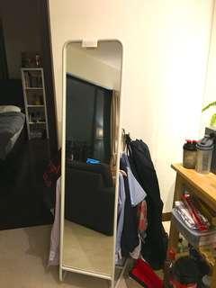 Standing Mirror with Hanger Rack