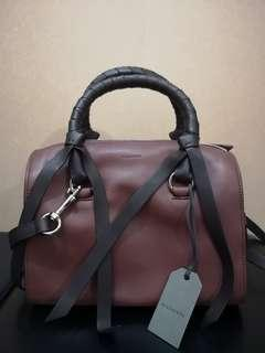 All Saints Voltaire small leather bowling bag burgundy/black
