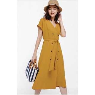 [Love, Bonito] Ottelia Wrap Button-up Dress in Mustard