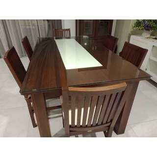 Solid Wood Dining Table with Tempered Glass and 6 Chairs
