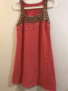 Forever New Silk Coral Dress with Beading