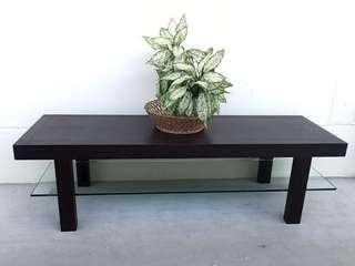 Modern Solid Darkwood Coffee Table / TV Console
