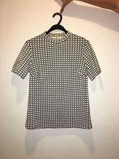 M&S Marks and Spencer - black & white checkered top