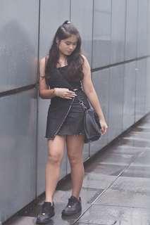 instock - cotton on black denim wrap skirt