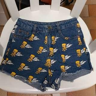 🚚 instock - simpsons dark blue denim shorts