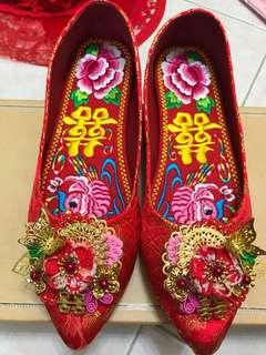 結婚繡花鞋 掛鞋 平底