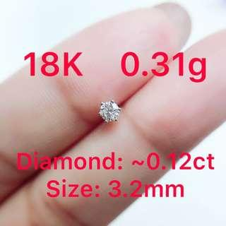 18K white gold diamond earring ~0.12ct ( ONLY ONE ) 鑽石耳環 ( 單隻 )