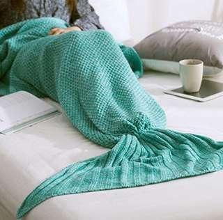 Green Mermaid Knitted Blanket