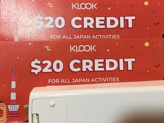 2 x Klook $20 credit for Japan activities