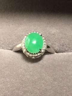 緬甸A貨天然冰綠翡翠戒指(有證書)