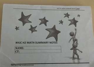 H2 math nyjc syllabus summary notes