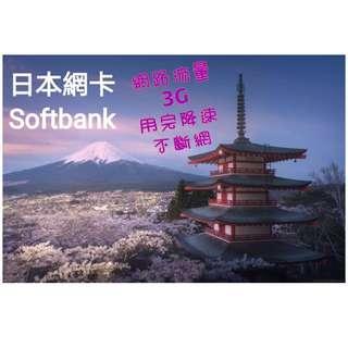 日本7天上網卡【3G流量用完降速吃到飽】上網網路卡 SIM卡,現貨寄出  免設定即插即用 出國旅遊 送取卡針