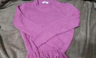 (New)荷葉縮腰針織毛衣