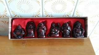 Vintage Hand-Crafted Wooden Happy Budhas