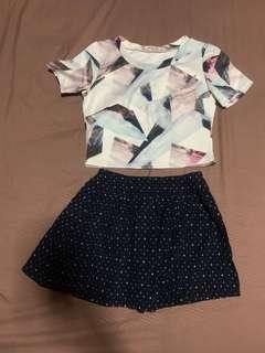 Printed Shawl Top + Polka Dots Dark Blue Skirt (Two Piece Set)