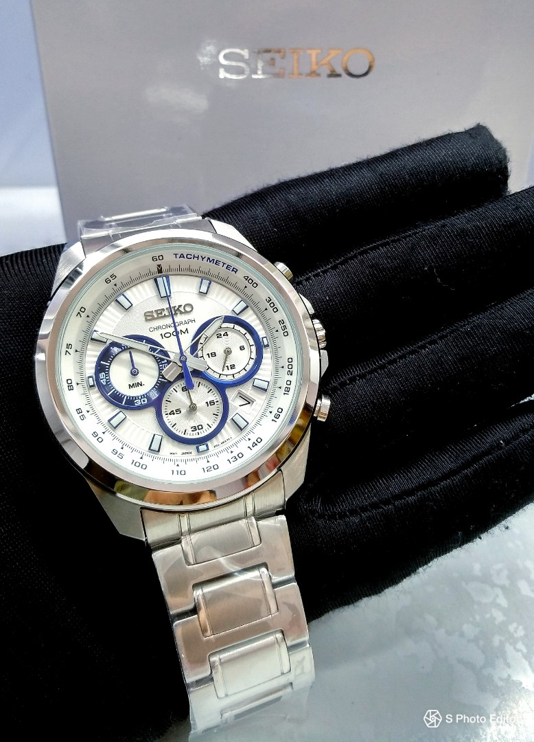 1710bf721 * FREE DELIVERY * Brand New 100% Authentic Seiko White Dial with Blue Trims  Mens Chronograph Watch SSB239P1 SSB239, Men's Fashion, Watches on Carousell