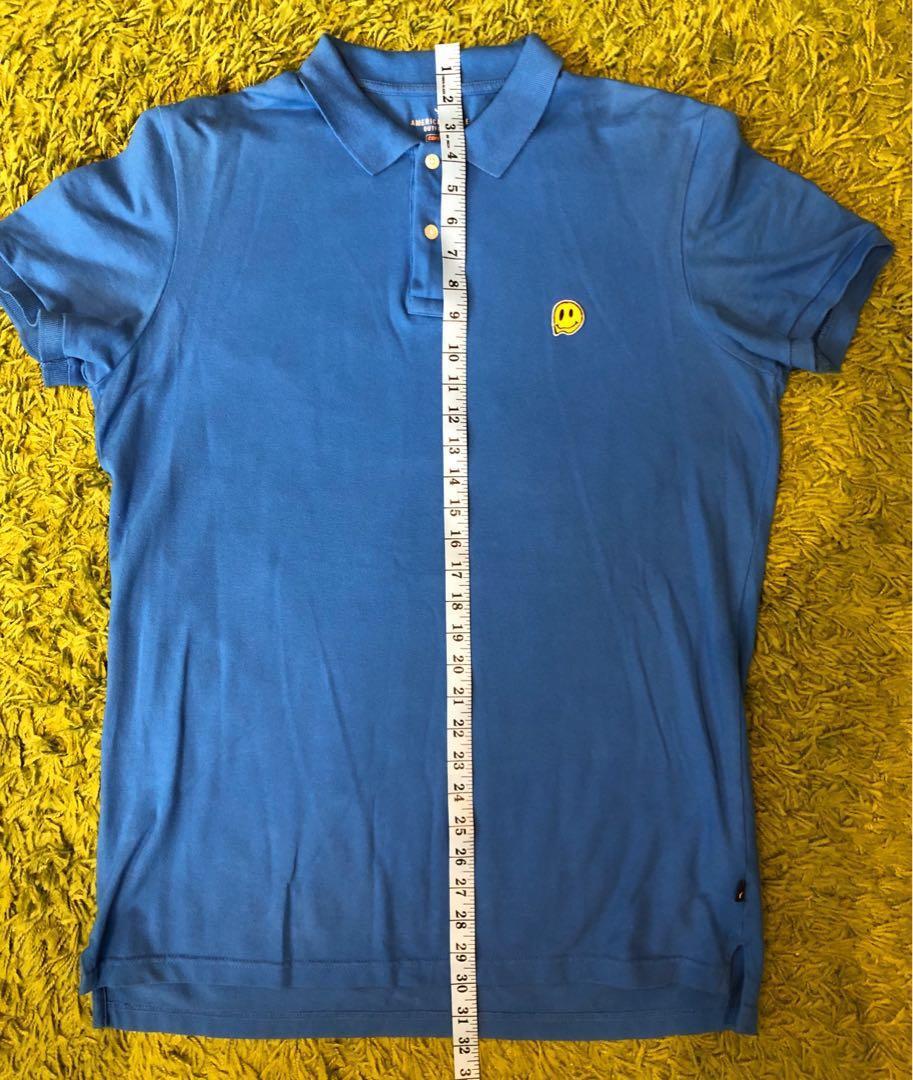 American Eagle Smiley Face Blue Polo Shirt L 藍色有彈性笑臉Polo衫 大碼