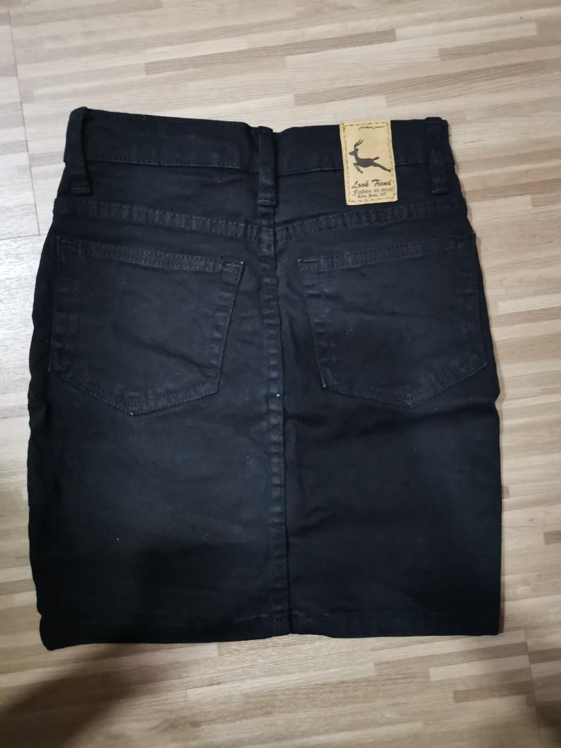 black jeans high waist skirt
