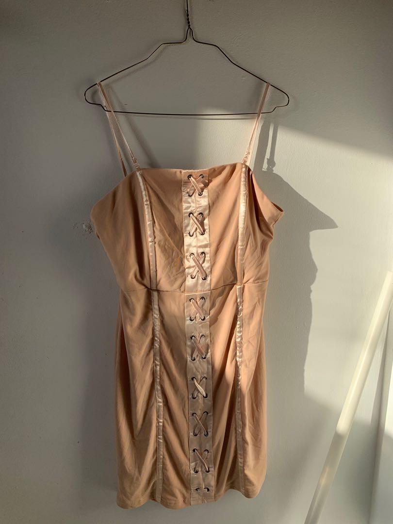 BNWT fashion nova pink satin detail lace up mini dress #SwapCA