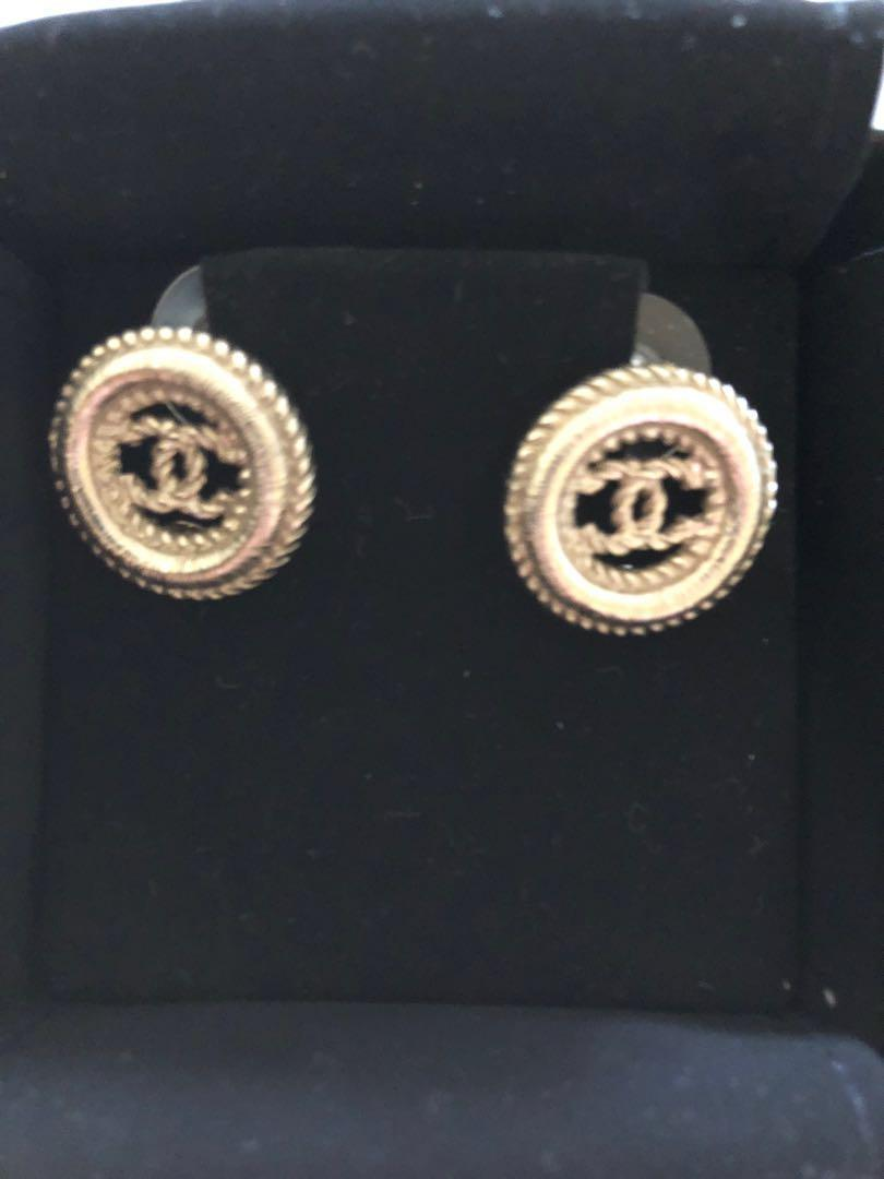 Chanel CC Gold Earrings (Authentic)