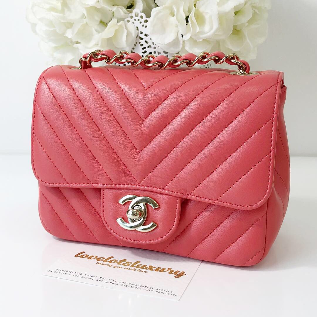 f25d11df138190 Chanel Quilted Classic Mini Square Salmon Pink Lambskin LGHW, Luxury, Bags  & Wallets, Handbags on Carousell