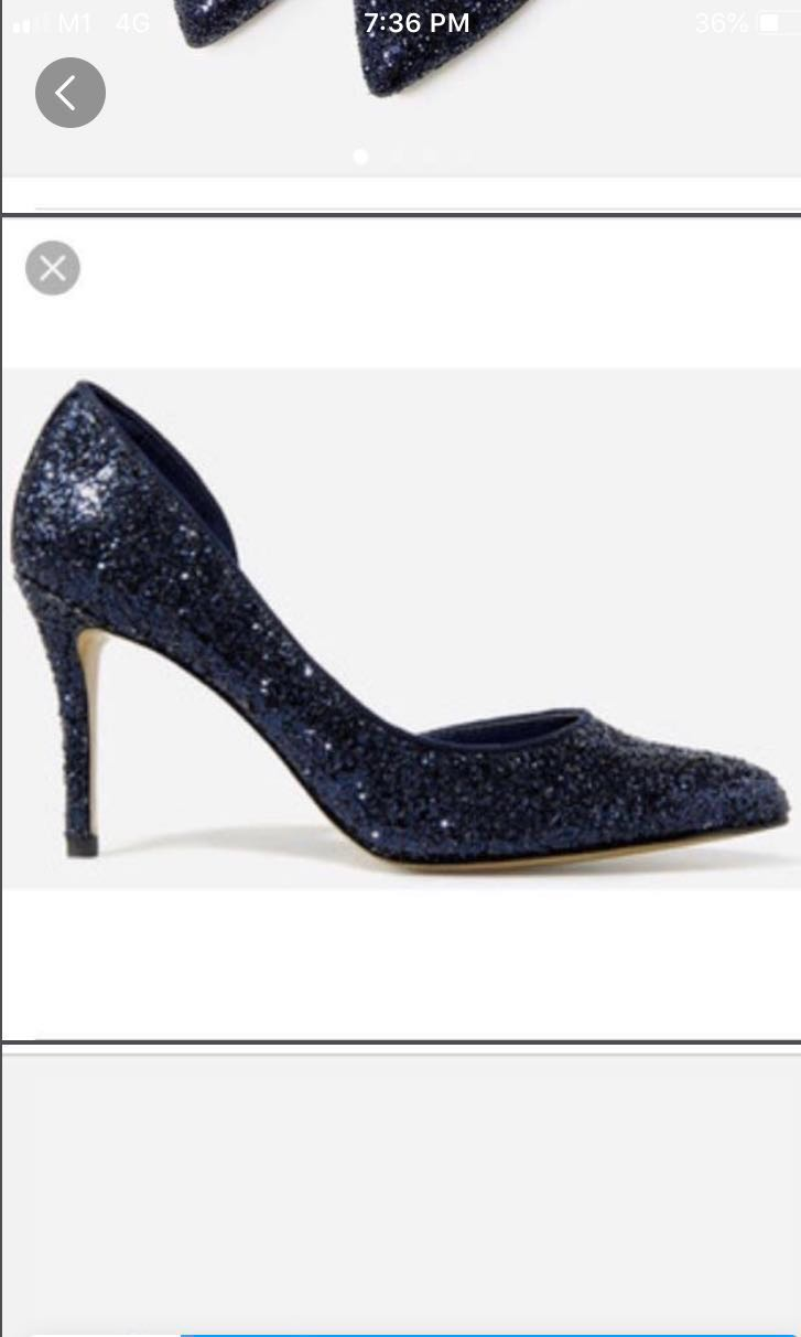 a3276573 Charles and Keith glitter shoes heels in navy blue, Women's Fashion ...