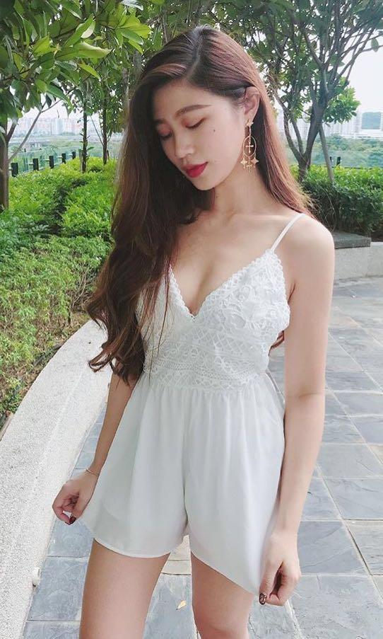 Chikibunnie white jumpsuit