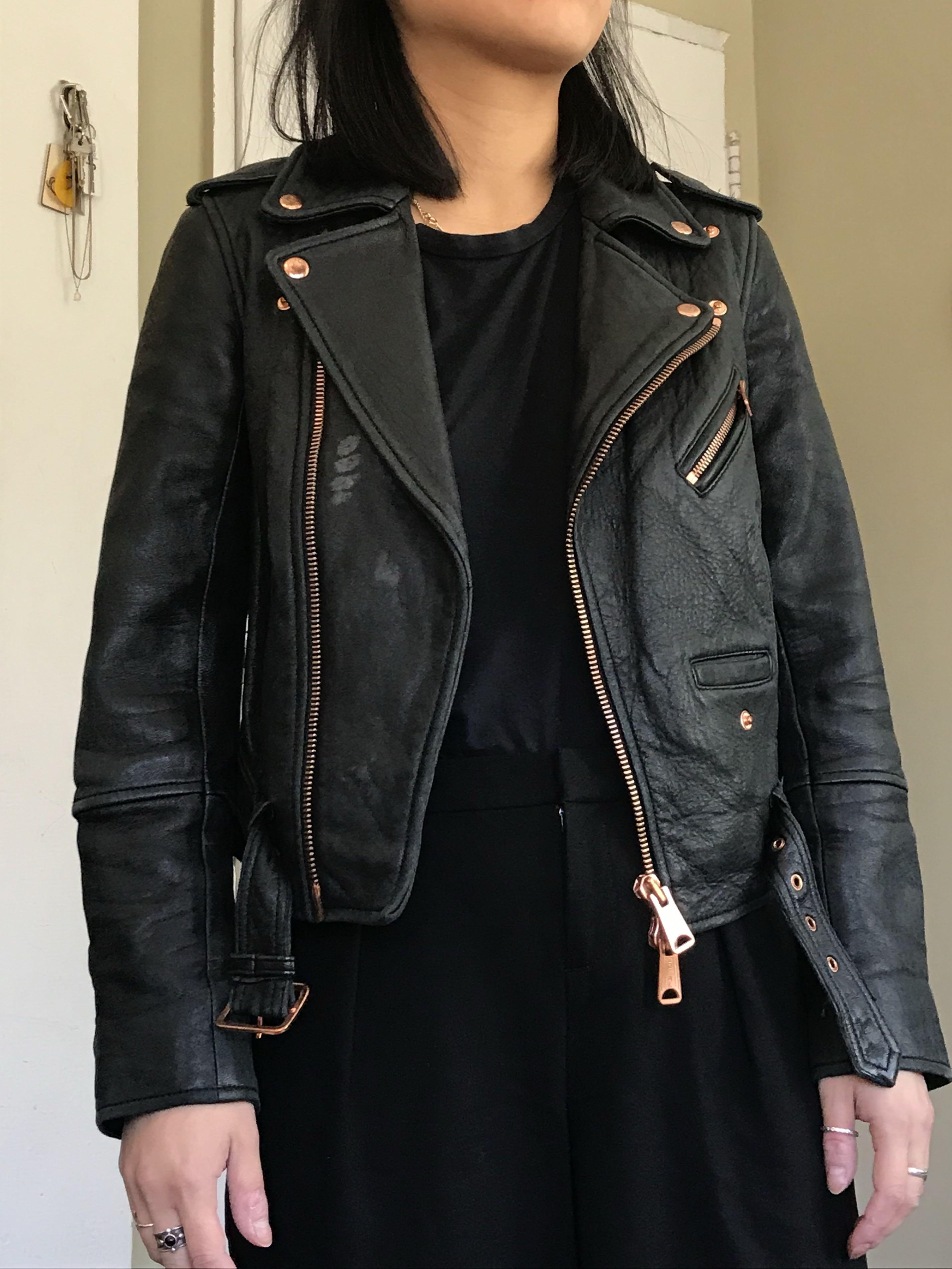 Club Monaco Leather Jacket with Rose Gold, Size XS