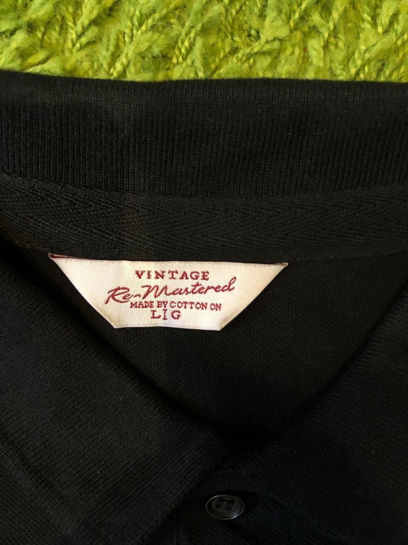 Cotton On Vintage Black Polo Shirt L 復古黑色Polo衫 大碼