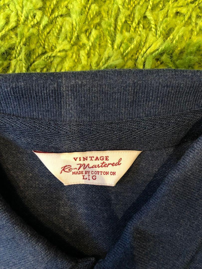 Cotton On Vintage Blue Polo Shirt 復古重新製作藍色Polo衫